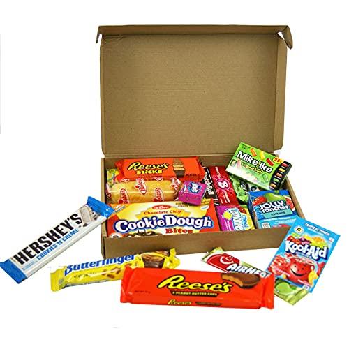 Cesta con American Candy   Caja de caramelos y Chucherias Americanas   Surtido de 19 artículos incluido Hersheys Reeses Jelly Belly Jolly Rancher   Golosinas para Navidad Reyes o para regalo