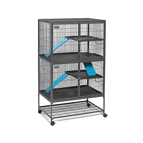 MidWest 550-24 Deluxe Ferret Nation Double Unit Ferret Cage (Model 182) Includes 2 Leak-Proof Pans, 2 Shelves, 3 Ramps w/Ramp Covers & 4 Locking Wheel Casters, Measures 36' L x 25' W x 62.5' H Inches