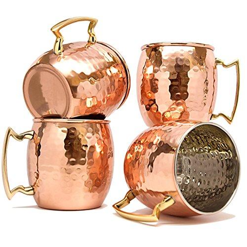 TeraShopee, Boccali in rame per moscow mule, capienza 560 ml, set da 4 pezzi, interno in nichel battuto di ottima qualità