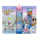 Barbie - Calendario Dell'Avvento Color Reveal con 25 Sorprese, Tra Cui 1 Bambola e 1 Cucciolo, HBT74