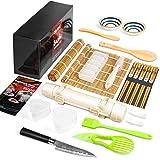 Sushi Making Kit, Delamu 22 in 1 Sushi Maker Bazooker Roller Kit with Bamboo Mats, Chef's Knife, Triangle/Nigiri/Gunkan Sushi Rice Mold, Chopsticks, Sauce Dishes, Rice Spreader, User Guide