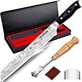 MOSFiATA 8' Bread Knife, Sharp Serrated Knife with Sheath, Bread Lame and 5 Blades in Gift Box, German High Carbon Stainless Steel EN1.4116 Cake Knife with Micarta Handle