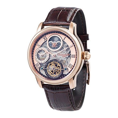 Thomas Earnshaw Longitude Shadow ES-8063-02 Herren-Armbanduhr mit Automatikgetriebe, Rotgold-Zifferblatt mit Skelett-Anzeige, braunes Lederarmband