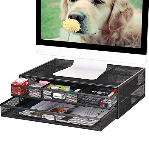 Monitor Stand Riser with Drawer - Metal Mesh Desk Organizer with Dual Pull Out Storage Drawer,Office...