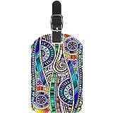 Etiquetas de Equipaje Etiquetas de Maleta de Viaje de Cuero Mandala Colorido 1 Paquete
