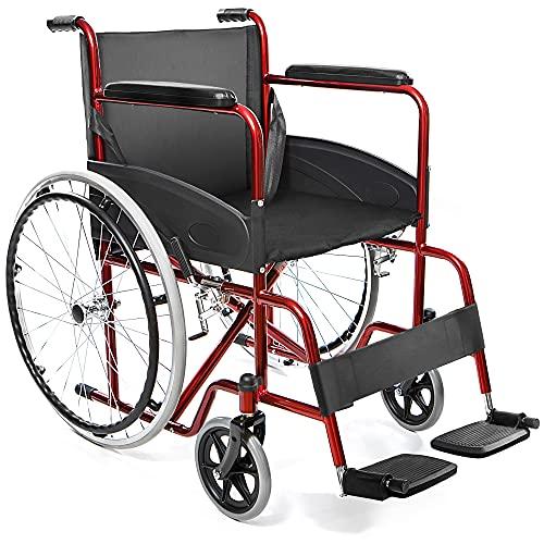 AIESI Sedia a Rotelle pieghevole leggera ad autospinta per disabili ed anziani AGILA BASIC # Braccioli e Poggiapiedi fissi # Cintura di sicurezza # Garanzia Italia 24 mesi