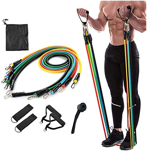 voltonix® Resistance Bands Set (11pcs), Exercise Bands with Door Anchor, Handles, Waterproof Carry Bag, Legs Ankle Straps for Resistance Training, Physical Therapy