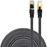 Cat 7 Ethernet Cable, DanYee Nylon Braided 10ft CAT7 High Speed Professional Gold Plated Plug STP Wires CAT 7 RJ45 Ethernet Cable 3ft 10ft 16ft 26ft 33ft 50ft 66ft 100ft (Black 10ft)