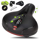 LUXOTON Most Comfortable Bike Seat - Wide Bicycle Saddle Replacement Memory Foam Soft Padded Cushion with Dual Shock Absorbing Rubber Balls Universal Fit for Indoor Outdoor Bikes with Waterproof Cover