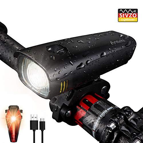 Antimi LED Fahrradlicht Set【Neueste Modell】, StVZO Zugelassen USB Wiederaufladbar Fahrradlichter Fahrradlampe Set, IPX5 Wasserdicht Frontlicht & Rücklicht Lampenset mit Samsung 2600mAh Li-ion Akku