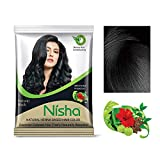 Nisha 10g Natural Color Hair Henna (pack of 5) with free Sahiba Hair dye Brush (Natural Black)
