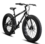 Mongoose Malus Fat Tire Bike with 26-Inch Wheels, with Steel Frame, and Mechanical Disc Brakes, Matte Black