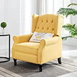 Altrobene Modern Accent Chair, Fabric Club Style Arm Chair for Living Room Bedroom Office, Tufted Wingback, Nailhead Trim, Yellow