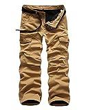 Hiver Hommes Cargo Pantalon Plus Velours Épaissir Garde Au Chaud Loisir Pantalons Droit Multi-Poches Pantalon de Travail Jaune 32