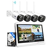 【3MP+3TB Hard Drive】Hiseeu Wireless Security Camera System with 12'Monitor Wireless CCTV System 8CH NVR,4x3 Megapixel Outdoor WiFi IP Camera with 2-Way Audio Night Vision Remote View App&Email Alert