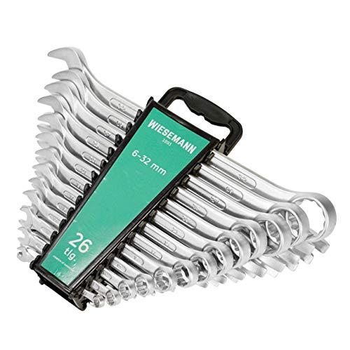Juego extragrande de llaves combinadas 26 pzas 6-32 mm de WIESEMANN 1893 | Con cabeza fija y un ángulo de 15° para facilitar el trabajo I Set de llaves combinadas con soporte I 80270