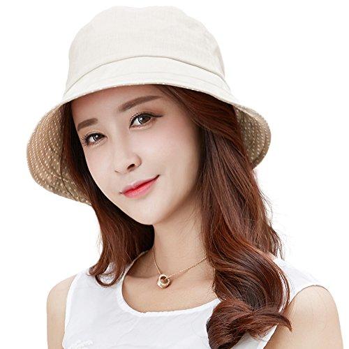 SIGGI beige Leinen/Baumwolle Damen Sonnenhüte Sonnen Shade mit Kinnriemen faltbare Fischerhüte SPF 50 + breite Krempe