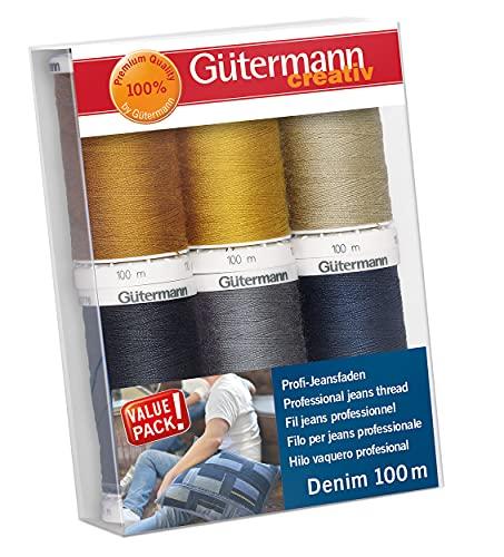 Gutermann 731144-1 - Set di fili in denim, 100 m x 6 bobine, multicolore