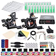 Two DragonHawk tattoo machines for lining and shading, Cast iron tattoo machine 10 wrap coils. Made of superior composite material, the spring is high-elastic and anti-fatigue for long-time working, made of Cooper coils 10 popular color immortal inks...