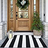 KOZYFLY Black and White Striped Rug | 27.5 x 43 Inches | Cotton Hand-Woven Washable Outdoor Rugs for Layered Door Mats Stripe Carpet Porch/Kitchen/Farmhouse/Entryway