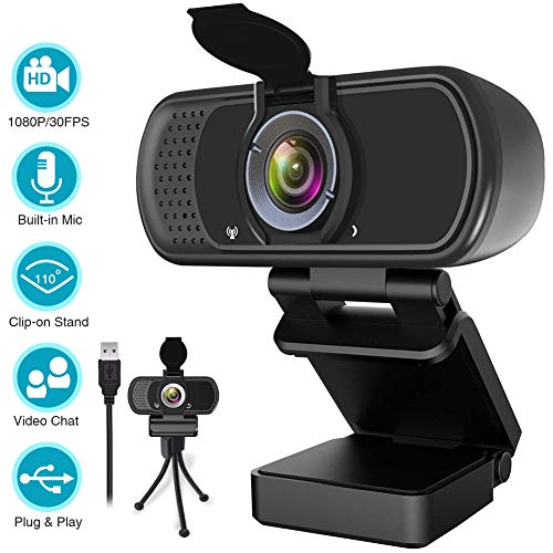 1080P Webcam,Live Streaming Web Camera with Stereo...