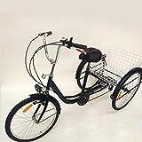 Tricycle 24' pour adultes | 6 vitesses | Tricycle adulte | 3 roues | Pédale Tricycle avec basket pour mamans, femmes, personnes âgées (noir)