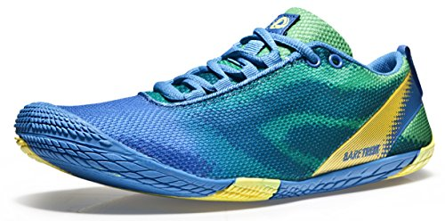 TSLA Men's Trail Running Shoes, Lightweight Athletic Zero Drop Barefoot Shoes, Non Slip Outdoor Walking Minimalist Shoes, Zerodrop Bk30 Blue Green, 11 UK