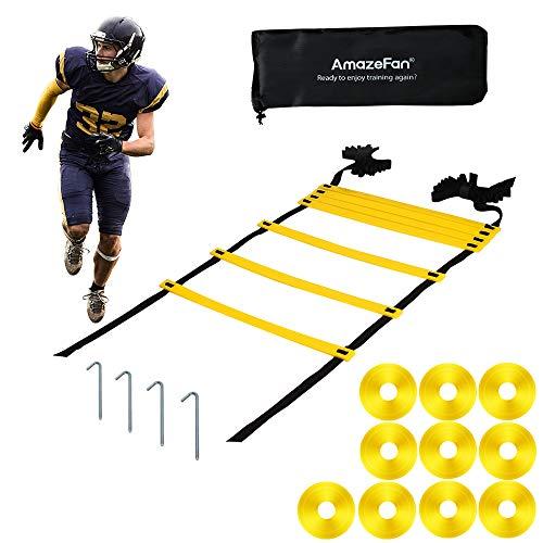 AmazeFan Koordinationsleiter 6.5m, Trainingsleiter Set, Agility Ladder mit robusten Sprossen für Koordinationstraining, Multi-Sport Trainingshilfe, Speed Training Ladder für Fußball, Basketball
