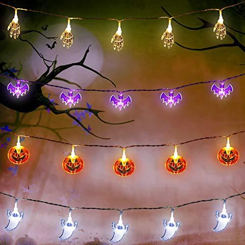 Conjunto de 4 Cadenas de Luces, 10 Pies 20 LEDs Calabazas Naranjas Murciélagos Púrpuras Fantasmas Blancos Manos de Esqueleto Blanco de Batería Cargada para Decoración Interior Exterior de Halloween