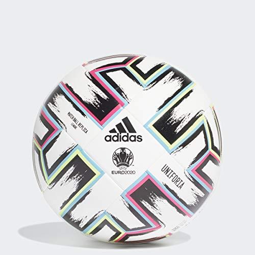 adidas Uniforia League Soccer Ball, White/Black/Signal Green/Bright Cyan, 5