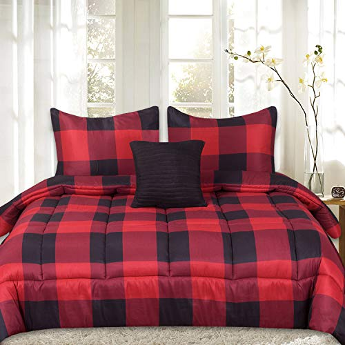 Sweet Home Collection 4 Piece Buffalo Check Plaid Design Reversible to Solid Color with 2 Shams & Throw Pillow, Full/Queen, Burgundy
