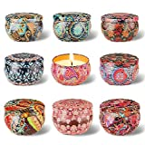 Arosky Set of 9 Scented Candle Gift Set, Pure Soy Wax Aromatherapy Candles Essential Oils for Home and Women