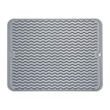 ZLR Silicone Dish Drying Mat Easy Clean Heat Resistant Hot Pot Holder Trivet Gray Dish Drying Mat for Kitchen Large 15.8 inches x 12 inches