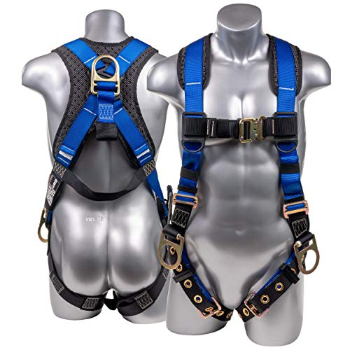 ATERET Fall Protection 5pt Safety Harness, Dorsal...