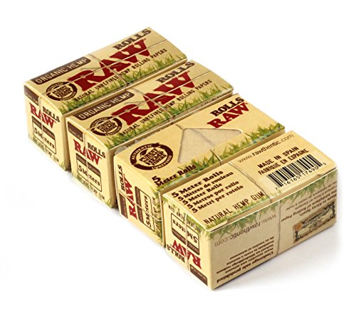 RAW Natural UNREFINED Hemp ORGANIC Rolling paper ROLLS - 4 x 5m papers by RAW