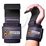 DMoose Fitness Weight Lifting Hooks Grip (Pair) - 8 mm Thick Padded Neoprene, Double Stitching, Non-Slip Resistant Coating – Secure Your Grip and Reach Your Goals (Black (Flat Hook), Flat Hook)