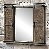 chemin_de_campagne Miroir Industriel Miroir Fenêtre Porte Coulissante Bois Fer 100 cm x 90 cm