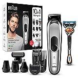 Braun MGK7220 - Recortadora 10 en 1, Máquina recortadora de barba, set de depilación corporal y...