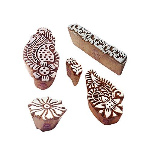 Royal Kraft Städtisch Entwürfe Runden und Blume Holz Drucken Stempel (Set von 5)