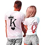 King Queen Couple Assorti T-Shirts Ensemble Tops Manches Courtes Tees...