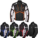 Motorcycle Jacket For Men Textile Motorbike Dualsport Enduro Motocross Racing Biker Riding CE Armored Waterproof All-Weather (Orange, Large)