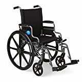 """Medline Lightweight and User-Friendly Wheelchair with Flip-Back Desk Arms and Swing-Away Leg Rests for Easy Transfers, Gray, 20"""" x 18' Seat"""