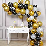 PartyWoo Gold and Black Balloons, 70 pcs Black Balloons, White Balloons, Black Marble Balloons, Gold Metallic Balloons, Gold Confetti Balloons for Great Gatsby Party, Hollywood Party, 1920 Party Decor