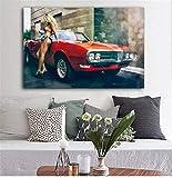 Imprimir En Lienzo 60x80cm Sin Marco Sexy mujer rubia y Dodge Muscle Car póster decoración para sala de estar pintura ¿puedes querer tocar el alma
