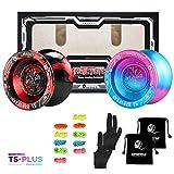 Pack of 2 MAGICYOYO T5 Plus Overlord Professional Yoyo, Unresponsive Metal Yoyo Balls for Kids, String Tricks Yo-Yo, Bonus - 10 Replacement Strings, 2 Bag, 2 Gloves (Pack of 2, Blue-Pink + Black-red)