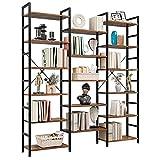 Bibliothèque sur pied avec 17 étages - Grande étagère de rangement ouverte - Étagère pour plantes et balcon - En métal et bois - Vintage - Industriel -...