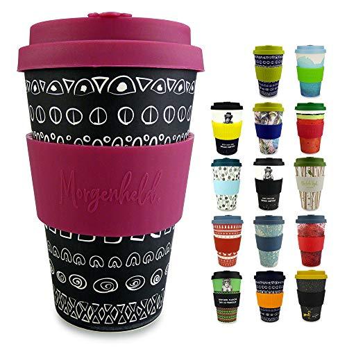 Morgenheld il tuo bicchiere di bambù alla moda | Coffee-to-Go bicchiere | bicchiere con coperchio in silicone e fascetta dal design futuristico da 400 ml