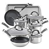 Circulon Espree Stainless Steel Nonstick Cookware Pots and Pans Set, 14 Piece, Silver