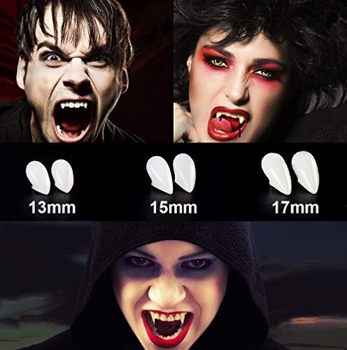 Vampire Fangs, Vampire Fangs Teeth, 3 Pairs of Different Sizes of Halloween Vampire Fangs Teeth with Adhesive and Tweezers, Made of Resin Ideal for Halloween Carnival