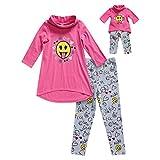 Dollie & Me Girls' Big Cowl Neck Emoji Legging Set and Matching Doll Outfit, Pink/Multi, 12
